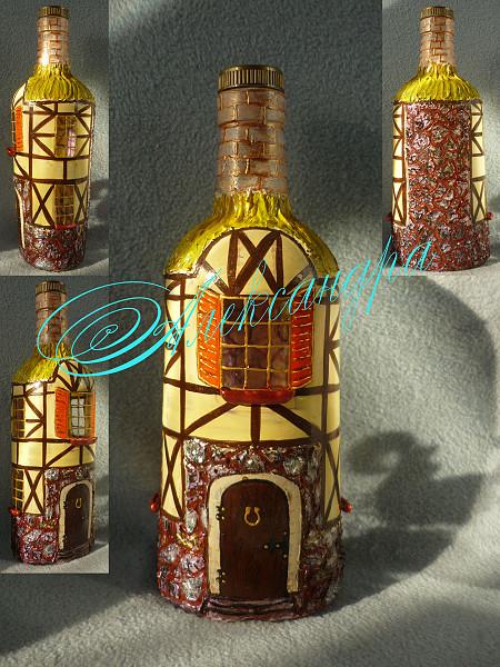 Роспись по стеклу бутылки